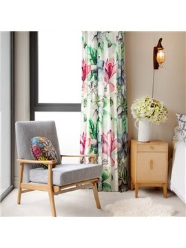 Country Style Floral Printed Cotton and Linen Blending Custom Curtain