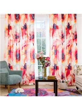 Colored Floral Printing Cotton and Linen Blending Custom Curtain