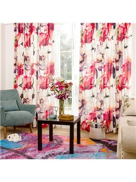 Decorative Floral Printing Cotton and Linen Blending Custom Curtain