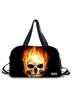 Super Cool Fire Skull Pattern 3D Painted Travel Bag
