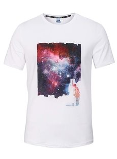 Fashion Round Neck Galaxy and Man Pattern White 3D Painted T-Shirt