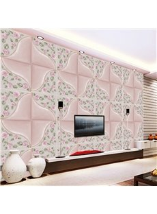 Gorgeous Pink Plaid with Roses Decoration TV Background Decoration Wall Murals