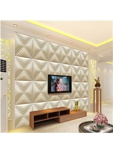 Stunning White Elegant Plaid Pattern TV Background Decoration Wall Murals
