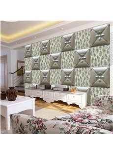 Attractive Modern Design Square Three-dimensional Plaid Pattern Wall Murals