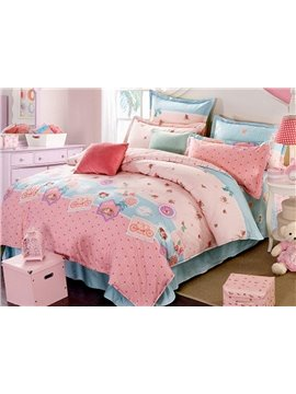 Pretty Pink Floral Pattern Cotton Princess 4-Piece Duvet Cover Set