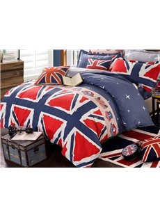Popular Union Flag Pattern Cotton 4-Piece Duvet Cover Set