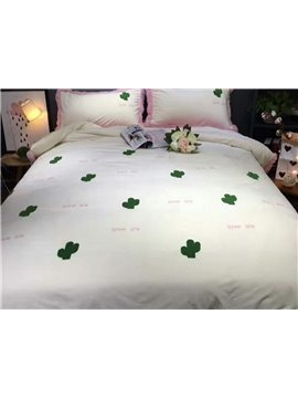 Pretty Soft Cactus Pattern White 4-Piece Duvet Cover Set