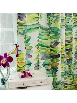 Green Decoration Ventilate Cotton and Linen Blending Custom Curtain