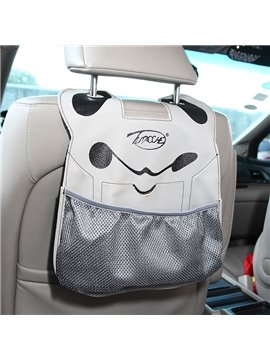 Cute Cartoon Character Face PU Material High Capacity Car Chair-Back Organizer