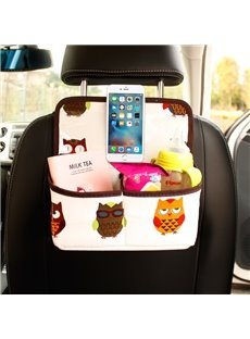 Cute Owl Pattern Multifunction Enough Capacity Oxford Material Car Chair-Back Organizer