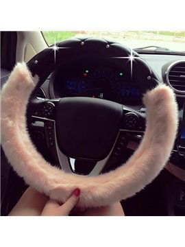 New Luxury Beautiful Durable PU And Soft Plush Material Mixing Medium Car Steering Wheel Cover