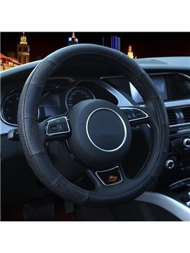 Classic And Sporty Black Leather Material Medium Steering Wheel Cover