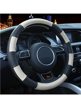 High Grade Contrast Color Pattern PU Medium Steering Wheel Cover