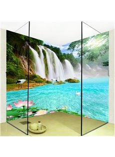 Pretty Waterfall Lake Natural Scenery Pattern Waterproof 3D Bathroom Wall Murals