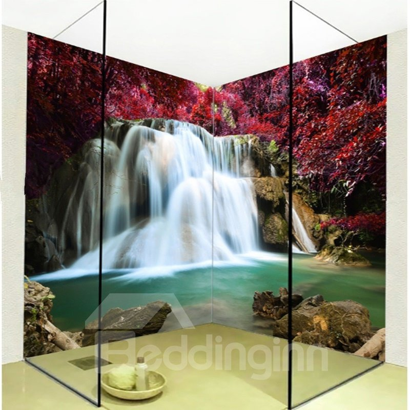 Realistic intermountain maple leaves and waterfalls for Waterproof bathroom murals
