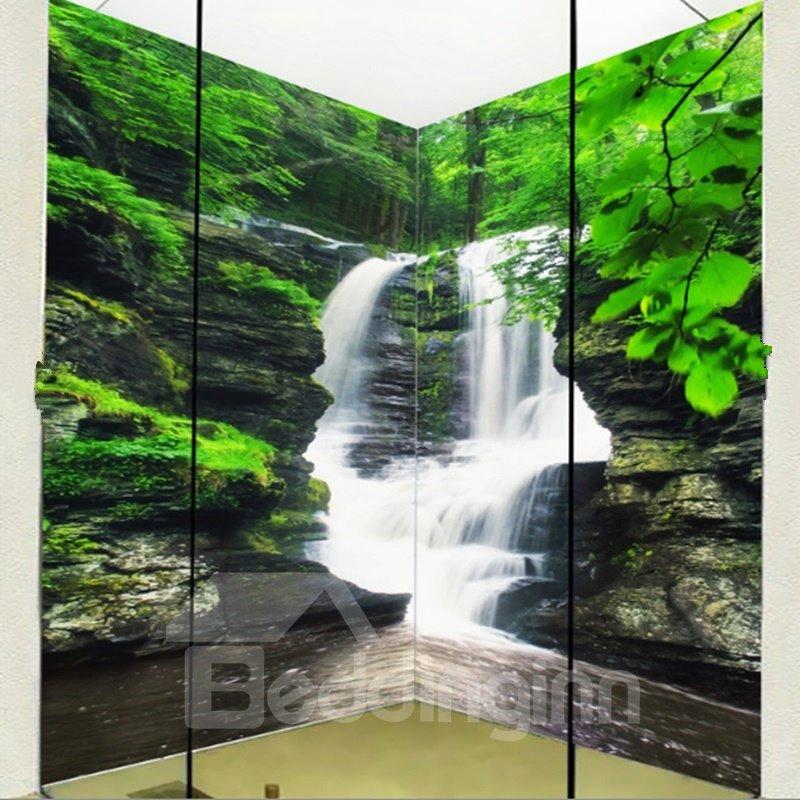 Fabulous Intermountain Waterfalls Pattern Waterproof 3D Bathroom Wall Murals