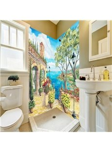 Amazing Beautiful House by the Sea Pattern Waterproof 3D Bathroom Wall Murals