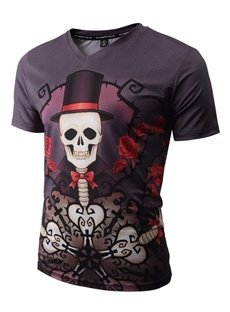 Special V Neck Skull with Hat Pattern 3D Painted T-Shirt