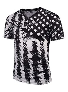 Cool V Neck Special Stripe and Stars Pattern 3D Painted T-Shirt