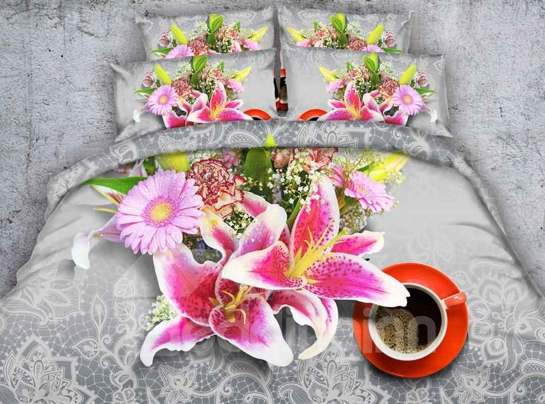 Charming Pink Lilies and Coffee Cup Print 4-Piece Duvet Cover Sets 12737143