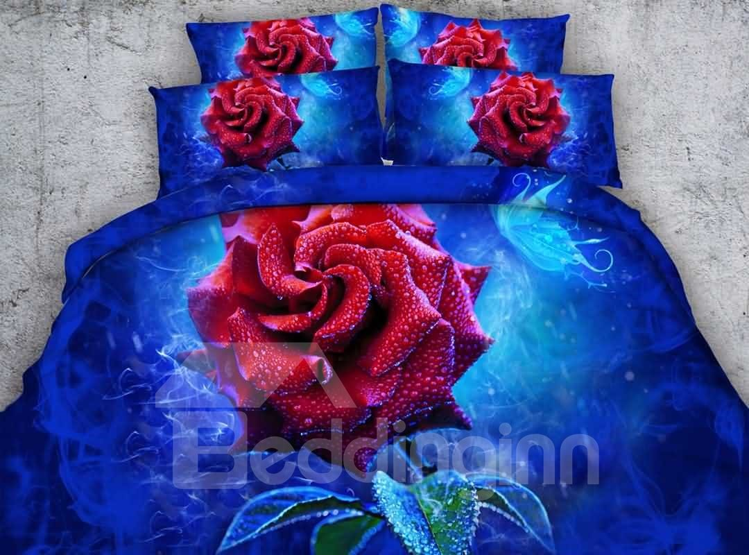 Gorgeous Red Rose Print 4-Piece Duvet Cover Sets 12737144