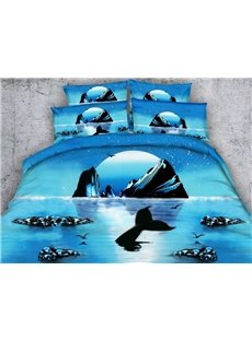 Rising Silver Moon Print 4-Piece Duvet Cover Sets
