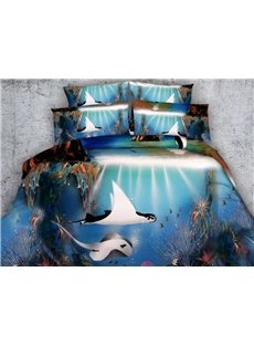 Amazing 3D Tropical Fish Printed 5-Piece Comforter Sets