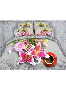 Fragrant Pink Lilies and Daisies Print 5-Piece Comforter Sets