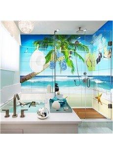 Unique Seaside Scenery Pattern Design Waterproof 3D Bathroom Wall Murals