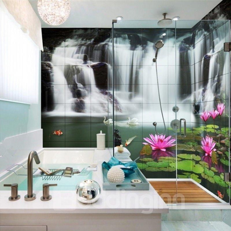 Lifelike Waterfalls and Lotus Pattern Waterproof 3D ...