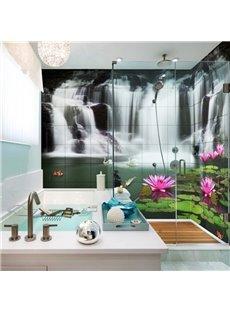 Lifelike Waterfalls and Lotus Pattern Waterproof 3D Bathroom Wall Murals