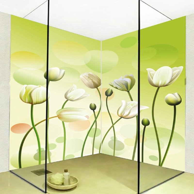 Green simple style flowers pattern waterproof 3d bathroom for Mural 3d simple