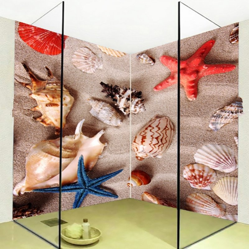Practical starfishes and conches pattern waterproof 3d for Waterproof bathroom murals
