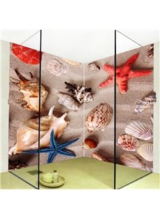 Practical Starfishes and Conches Pattern Waterproof 3D Bathroom Wall Murals