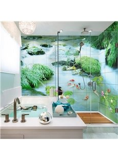 Modern Design Natural Goldfishes in the Pond Pattern 3D Bathroom Wall Murals