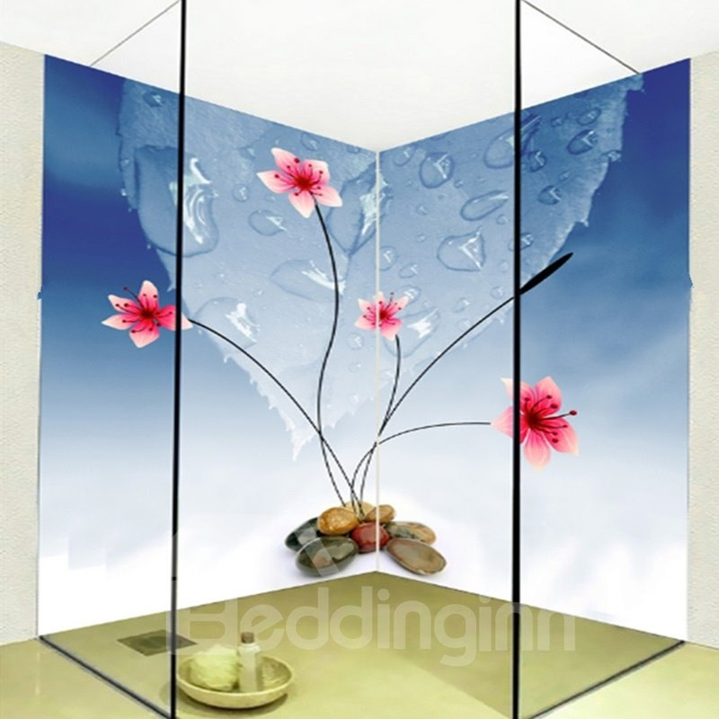 Simple style flowers and water drops pattern waterproof 3d for Mural 3d simple