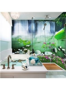 Fancy Waterfalls and Lotus Scenery Pattern Waterproof 3D Bathroom Wall Murals