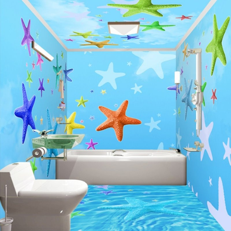 Sky blue simple style colorful sea starfish pattern for Mural 3d simple