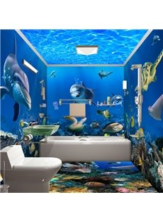 Realistic Blue Lovely Dolphins and Fishes in the Sea Pattern Waterproof 3D Bathroom Wall Murals