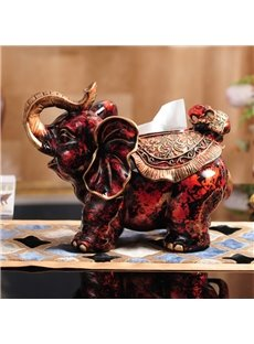 Red Classic European Style Resin Elephant Shape Design Desktop Tissue Box