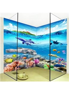 Blue Fishes and Dolphins Pattern Waterproof Splicing 3D Bathroom Wall Murals
