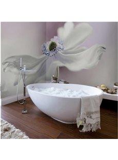 Fresh White Flower Pattern Waterproof 3D Bathroom Wall Murals