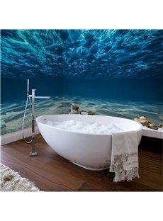 Charming Blue Ocean Pattern Waterproof 3D Bathroom Wall Murals