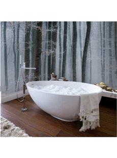 Simple White and Black Trees Pattern Waterproof 3D Bathroom Wall Murals