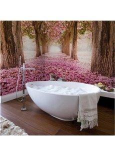 Pink Romantic Sakura Tree Scenery Waterproof Decorative 3D Bathroom Wall Murals
