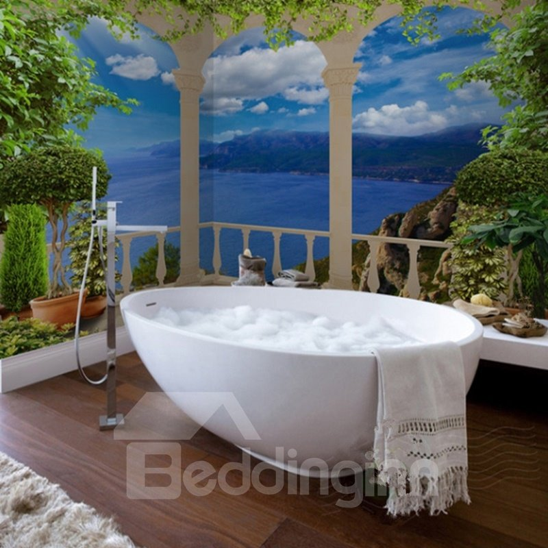 Blue sea scenery pattern simple style waterproof 3d for Mural 3d simple
