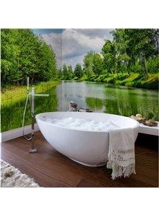 Dark Green Natural River Scenery Waterproof 3D Bathroom Wall Murals