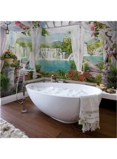 Decorative Waterfalls Scenery Modern Splicing Waterproof 3D Bathroom Wall Murals