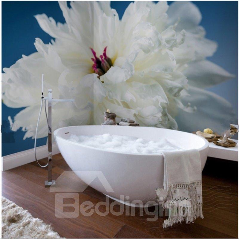Simple style white flower pattern waterproof 3d bathroom for Mural 3d simple
