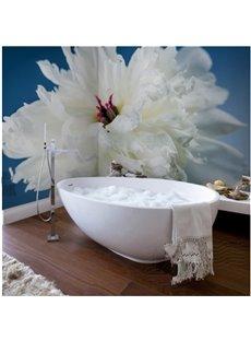 Simple Style White Flower Pattern Waterproof 3D Bathroom Wall Murals